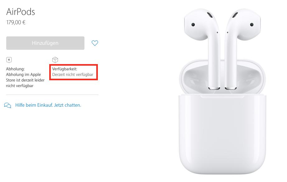 Derzeit nicht verfügbar: Die Apple AirPods